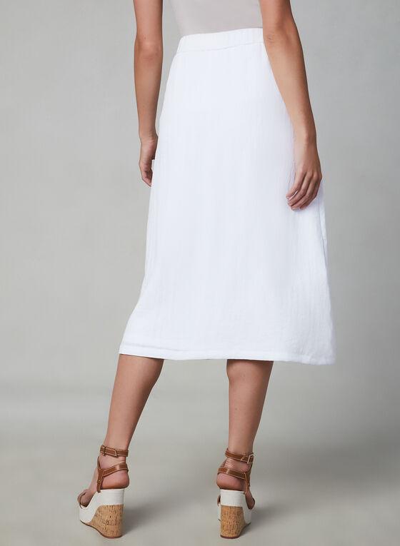 Button Detail Midi Skirt, White, hi-res