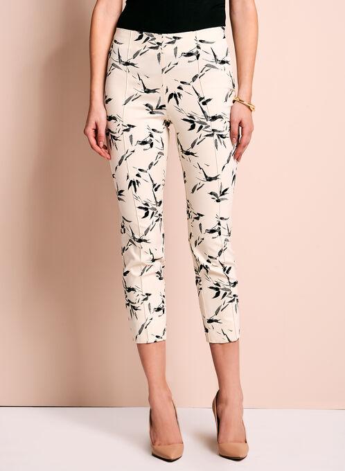 Bamboo Print Capri Pants, White, hi-res