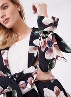 Frank Lyman - Floral Print Open Front Duster, Black, hi-res