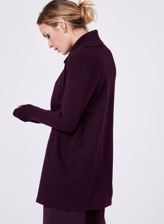 Lapel Collar Knit Cardigan, Purple, hi-res