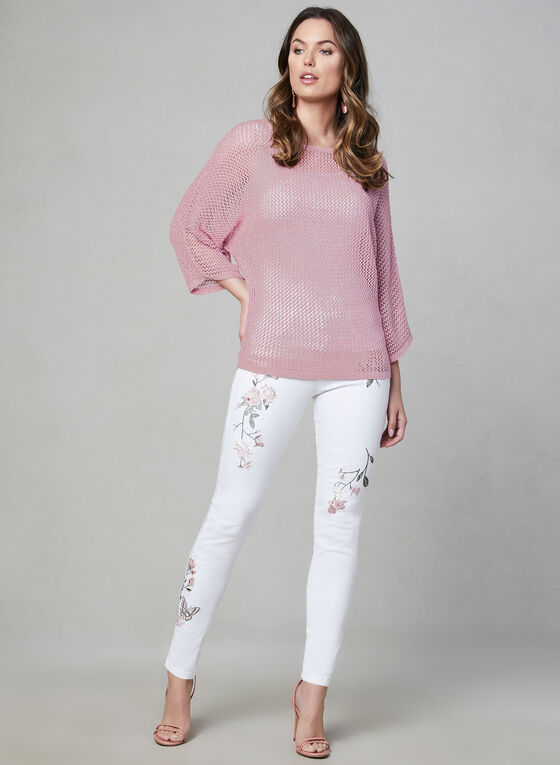 Open Weave Bat Sleeve Sweater, Pink, hi-res
