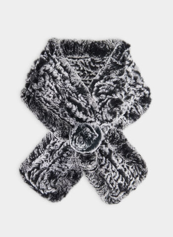 Rabbit Fur Scarf, Grey,  fall winter 2019, rabbit fur