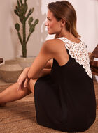 Contrast Lace Back Nightgown, Black