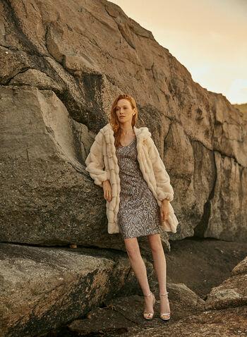 Alex Evenings - Robe fourreau à sequins, Argent,  robe cocktail, manches courtes, maille filet, sequins, doublée, col v, printemps été 2020