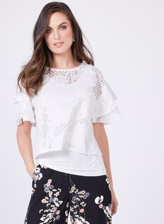 Tiered Cap Sleeve Floral Burnout Top, White, hi-res