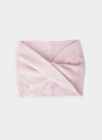Karl Lagerfeld Paris - Jewel Detail Scarf , Pink,  scarf, viscose, hairy, knit, jewels, fall winter 2019