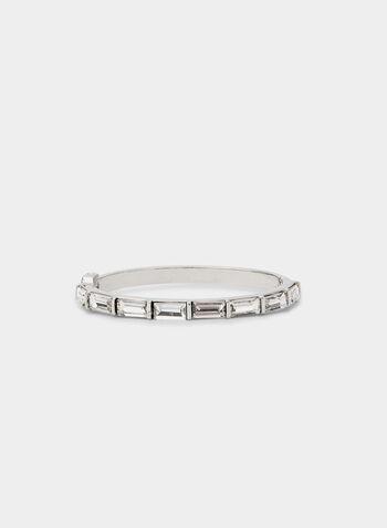 Hinge Bangle Bracelets, Silver,  bangle bracelet, large horizontal baguettes, fall 2019