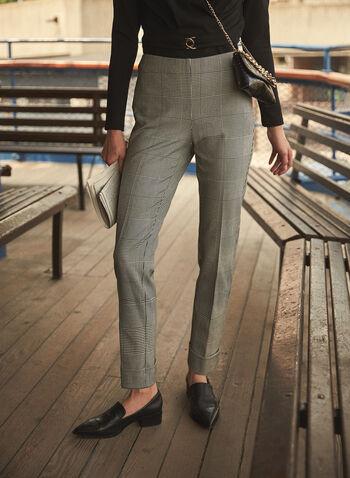 Pantalon étroit motif prince-de-galles, Noir,  pantalon, étroit, prince de galles, automne hiver 2020
