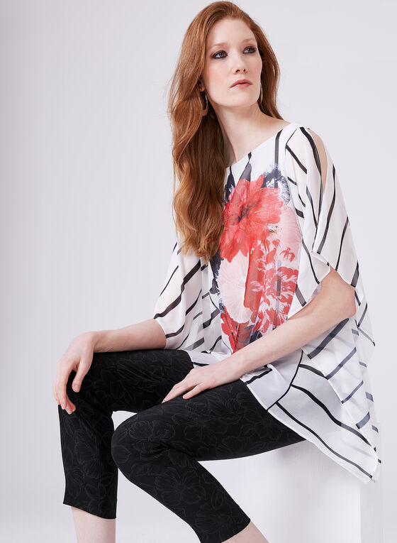 Floral Print Poncho Blouse, White, hi-res