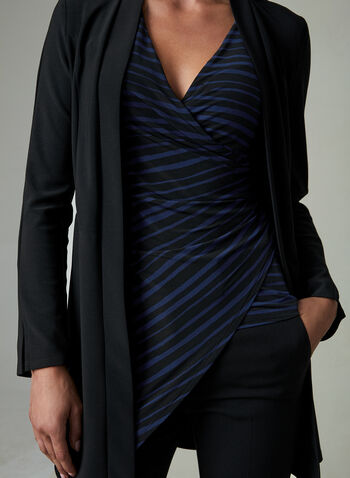Stripe Print Draped Top, Black, hi-res