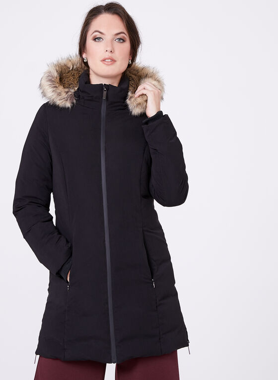 Faux Fur Hooded Down Coat , Black, hi-res