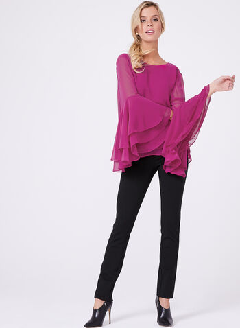 Double Layer Chiffon Blouse , Red, hi-res