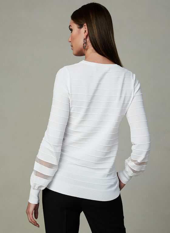 Ribbed Balloon Sleeve Top, Off White, hi-res