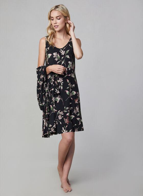 Floral Print Robe & Nightgown, Black, hi-res