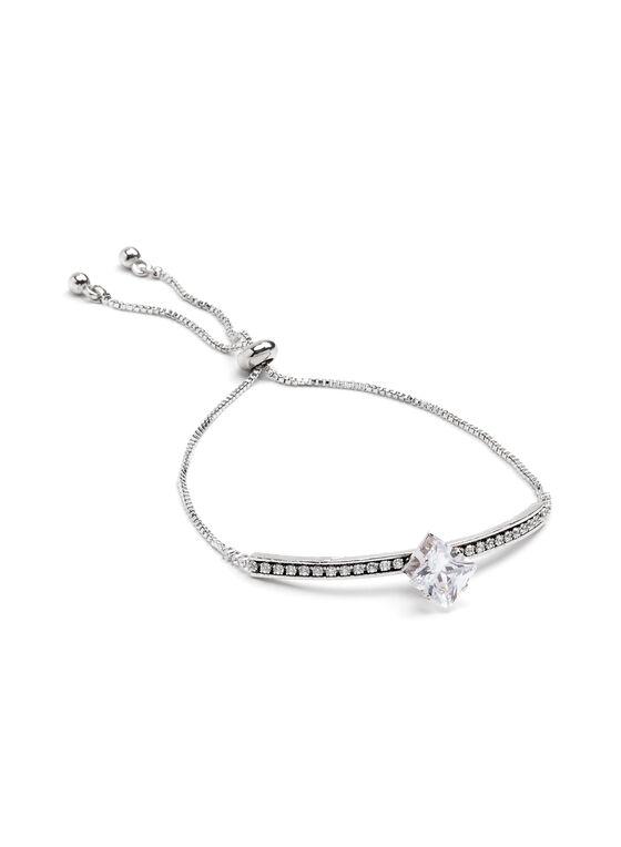 Bracelet argenté avec brillants et grosse pierre, Argent, hi-res