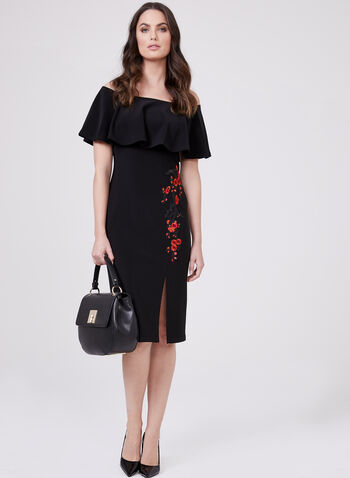 Frank Lyman - Off The Shoulder Floral Appliqué Dress, Black, hi-res