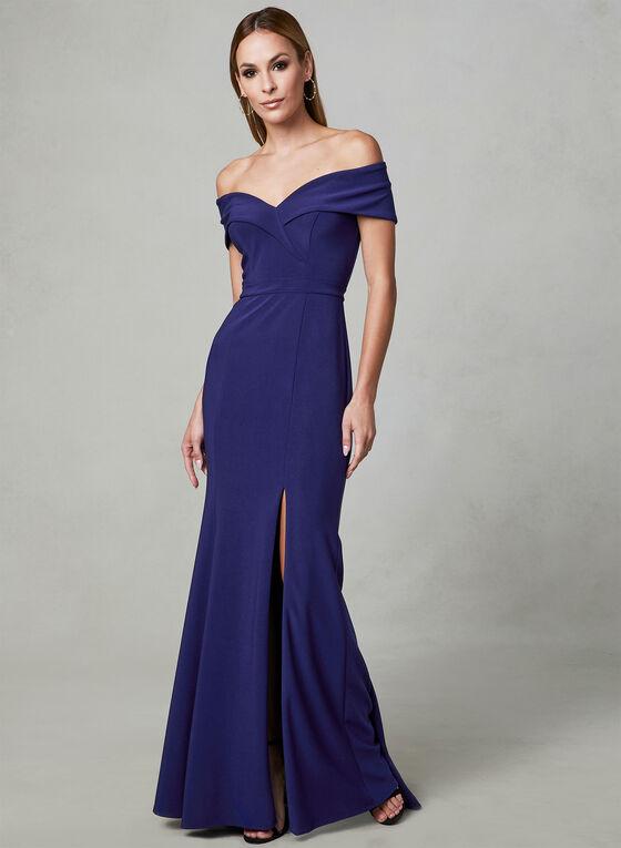 BA Nites - Off The Shoulder Dress, Blue, hi-res