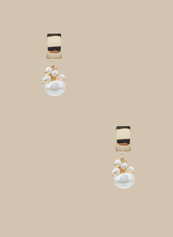 Boucles d'oreilles à grappe de perles, Blanc cassé,  boucles d'oreilles, grappe de perles, rectangle, métal, printemps été 2020
