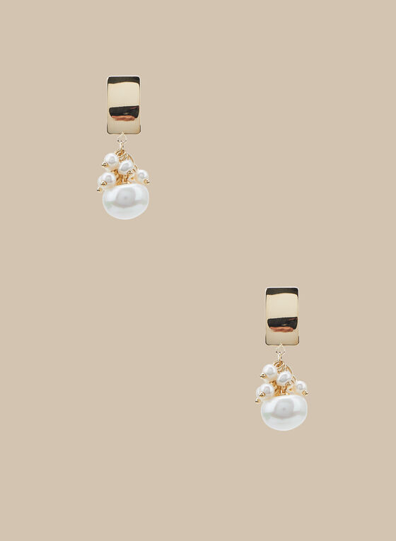 Pearl Cluster Dangle Earrings, Off White