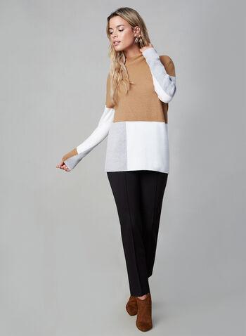 Mock Neck Colour Block Sweater, Brown, hi-res,  mock neck, colour block, knit, sweater, long sleeves, fall 2019, winter 2019