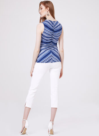 Ruched Sleeveless V-Neck Top, Blue, hi-res