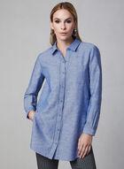 Linen Tunic Blouse, Blue, hi-res