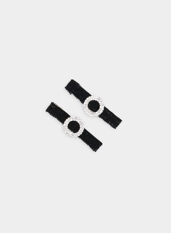Barrettes à ruban et anneau en cristaux, Noir, hi-res,  barrettes, ruban, anneau, cristaux, automne hiver 2019