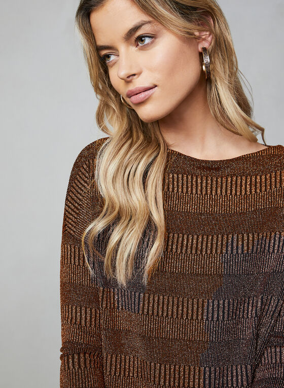 Sequined Knit Dolman Sleeve Top, Gold