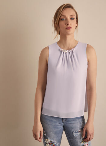 Joseph Ribkoff - Pearl Detail Chiffon Blouse, Purple,  Canada, blouse, sleeveless, pearls, chiffon blouse, top, chiffon, spring 2020, summer 2020