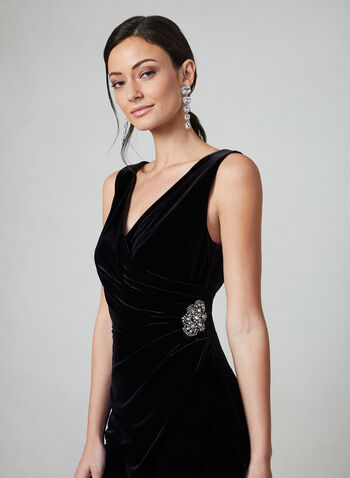 Alex Evenings -  Draped Velvet Dress , Black,  dress, velvet, draped, sleeveless, wrap-around bodice, side drape, rhinestones, fall 2019