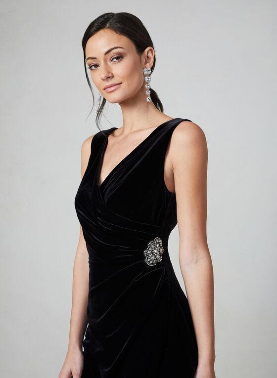 Alex Evenings - Robe en velours à effet drapé, Noir
