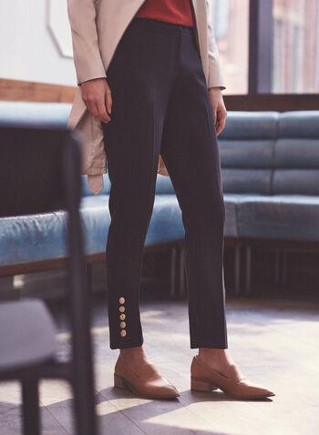 Pantalon Giselle à ourlet boutonné, Noir,  pantalon, giselle, jambe étroite, poches, boutons, printemps été 2020