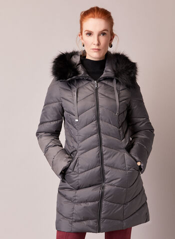 Tahari - Vegan Down Quilted Coat, Grey,  fall winter 2020, coat, jacket, winter, warm, removable hood, faux fur, Tahari, drawstrings, long sleeve, ribbed cuffs, pockets, fitted, matte, satin, quilted, thermatec, vegan down, machine washable