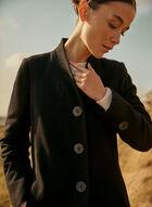 Mid Length Wool Blend Coat, Black