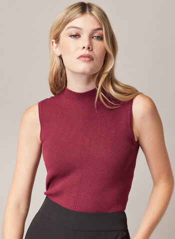 Sleeveless Mock Neck Sweater, Purple,  sweater, sleeveless, rib knit, mock neck, spring summer 2020