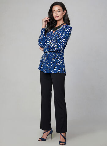 Abstract Print V-Neck Blouse, Blue, hi-res,  button down, placket, long sleeves