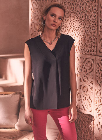 Sleeveless Blouse, Black,  spring summer 2021, tops, blouses, made in Canada, v neck, no sleeves, layers,