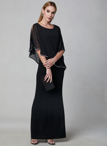 Frank Lyman - Chiffon Poncho Dress, Black, hi-res