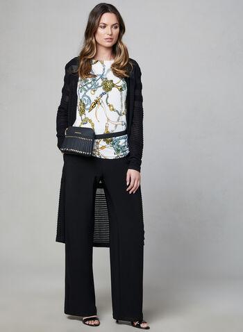 Pantalon pull-on à jambe large, Noir, hi-res,  pantalon, pull-on, jambe large, poches, automne hiver 2019