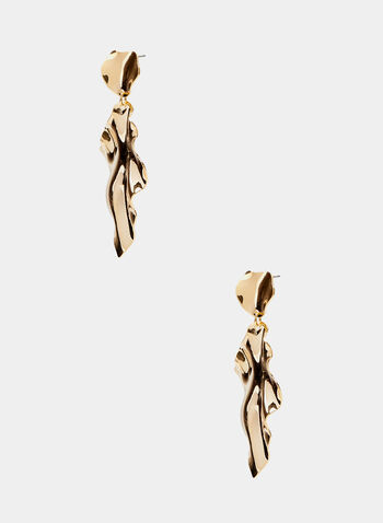 Tiered Dangle Earrings, Gold, hi-res
