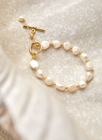 Fresh Water Pearl Bracelet, Off White,  spring summer 2021, accessory, jewellery, bracelet, toggle closure, bead, fresh water pearl, golden, ball, textured