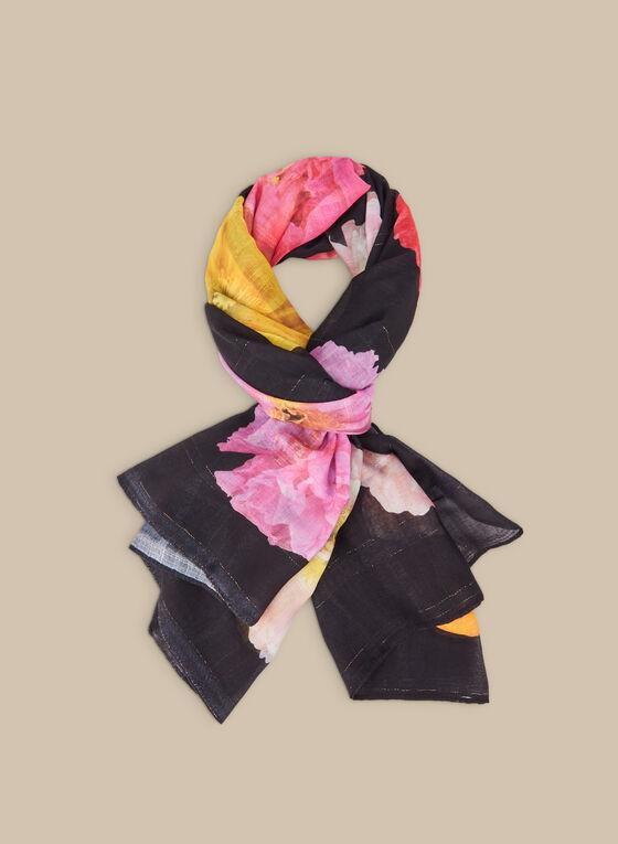 Foulard léger à fleurs et carreaux, Noir