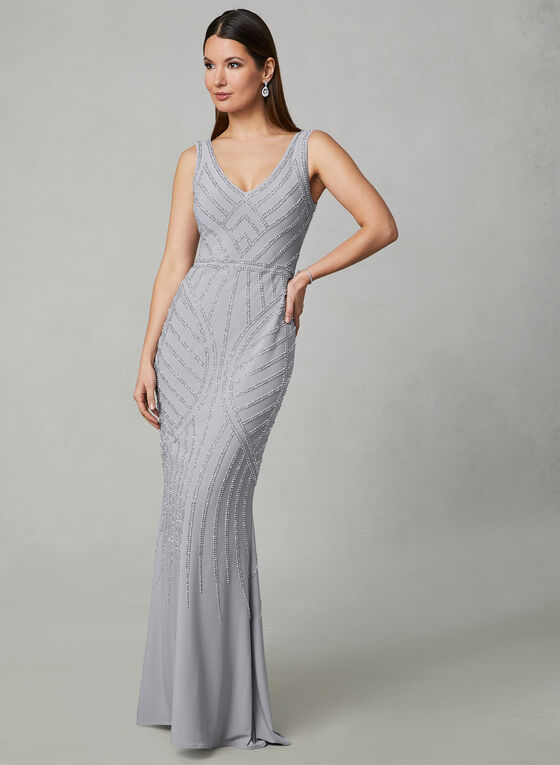 BA Nites - Beaded Jersey Gown, Silver, hi-res