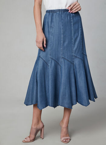 Linea Domani - Gored Maxi Skirt, Blue, hi-res,  pull-on, denim, summer 2019