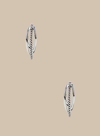 Triple Hoop Earrings, Silver,  earrings, metallic earrings, hoop earrings, spring 2020, summer 2020