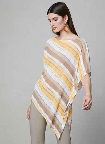 Stripe Print Poncho Top, Yellow, hi-res