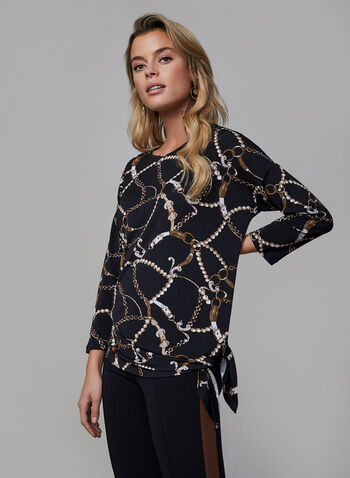 Printed Asymmetric Top, Black,  fall winter 2019, 3/4 sleeves, stretchy, crepe