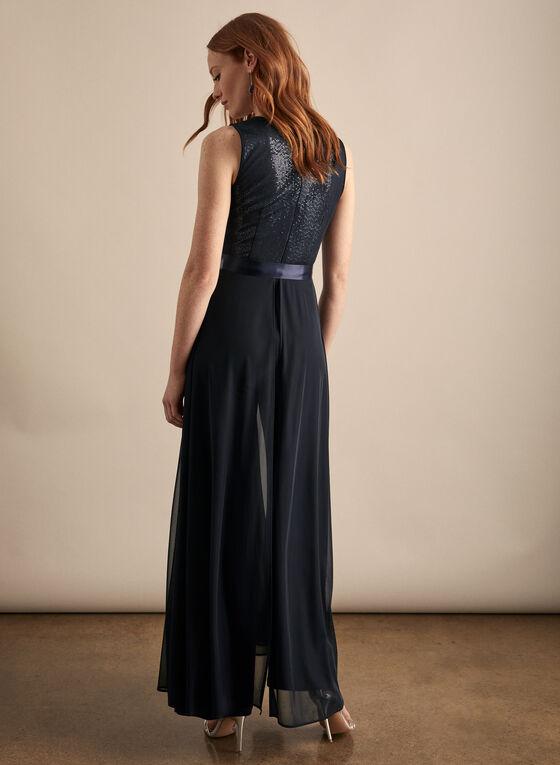 Frank Lyman - Mesh & Sequin Jumpsuit, Blue