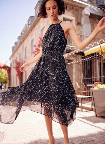 Polka Dot Print Chiffon Dress, Black,  spring summer 2021, dotted, spotted, polka dot, halter, dress, sleeveless, asymmetrical, keyhole, dot print, polka dot, chiffon, sheer