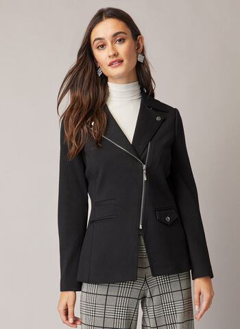 Asymmetric Zipper Detail Blazer, Black,  fall winter 2020, blazer, notched collar, ponte de roma, zipper